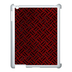 Woven2 Black Marble & Red Grunge Apple Ipad 3/4 Case (white) by trendistuff