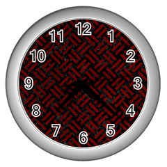 Woven2 Black Marble & Red Grunge (r) Wall Clocks (silver)  by trendistuff