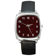 Woven2 Black Marble & Red Grunge (r) Square Metal Watch by trendistuff