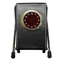 Woven2 Black Marble & Red Grunge (r) Pen Holder Desk Clocks by trendistuff