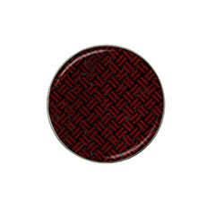 Woven2 Black Marble & Red Grunge (r) Hat Clip Ball Marker (4 Pack) by trendistuff