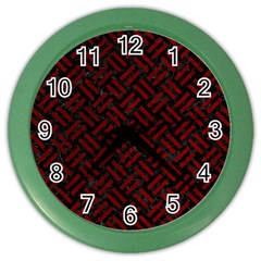 Woven2 Black Marble & Red Grunge (r) Color Wall Clocks by trendistuff
