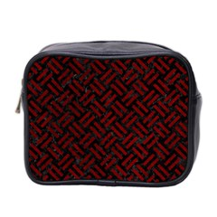 Woven2 Black Marble & Red Grunge (r) Mini Toiletries Bag 2 Side by trendistuff