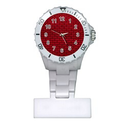 Brick1 Black Marble & Red Leather Plastic Nurses Watch by trendistuff