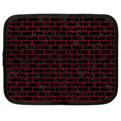 Brick1 Black Marble & Red Leather (r) Netbook Case (large) by trendistuff