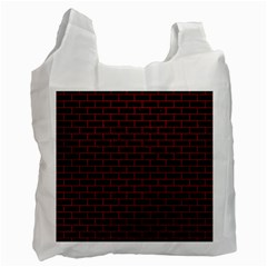 Brick1 Black Marble & Red Leather (r) Recycle Bag (two Side)  by trendistuff