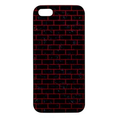 Brick1 Black Marble & Red Leather (r) Apple Iphone 5 Premium Hardshell Case by trendistuff