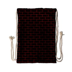 Brick1 Black Marble & Red Leather (r) Drawstring Bag (small)