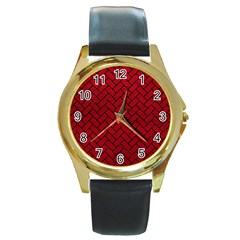 Brick2 Black Marble & Red Leather Round Gold Metal Watch by trendistuff