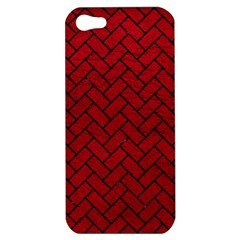 Brick2 Black Marble & Red Leather Apple Iphone 5 Hardshell Case by trendistuff