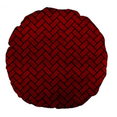 Brick2 Black Marble & Red Leather Large 18  Premium Flano Round Cushions by trendistuff