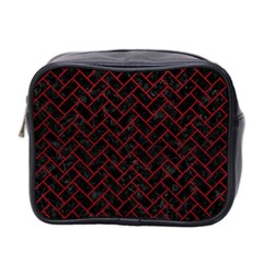Brick2 Black Marble & Red Leather (r) Mini Toiletries Bag 2 Side by trendistuff