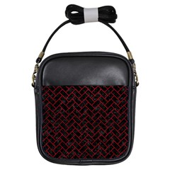 Brick2 Black Marble & Red Leather (r) Girls Sling Bags by trendistuff