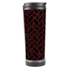 Brick2 Black Marble & Red Leather (r) Travel Tumbler by trendistuff