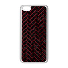 Brick2 Black Marble & Red Leather (r) Apple Iphone 5c Seamless Case (white) by trendistuff