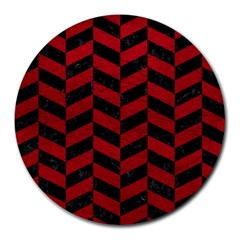 Chevron1 Black Marble & Red Leather Round Mousepads by trendistuff