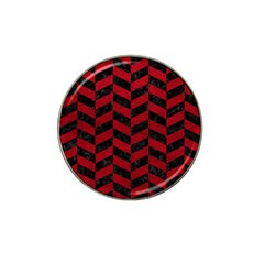 Chevron1 Black Marble & Red Leather Hat Clip Ball Marker (10 Pack) by trendistuff