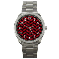Chevron1 Black Marble & Red Leather Sport Metal Watch by trendistuff