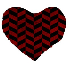 Chevron1 Black Marble & Red Leather Large 19  Premium Flano Heart Shape Cushions by trendistuff