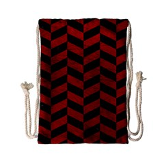 Chevron1 Black Marble & Red Leather Drawstring Bag (small) by trendistuff