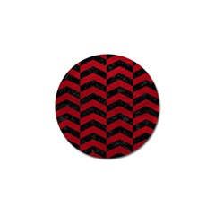Chevron2 Black Marble & Red Leather Golf Ball Marker (4 Pack)