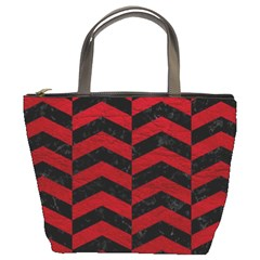 Chevron2 Black Marble & Red Leather Bucket Bags