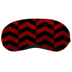 Chevron2 Black Marble & Red Leather Sleeping Masks by trendistuff