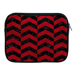 Chevron2 Black Marble & Red Leather Apple Ipad 2/3/4 Zipper Cases by trendistuff