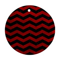Chevron3 Black Marble & Red Leather Round Ornament (two Sides) by trendistuff
