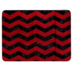 Chevron3 Black Marble & Red Leather Samsung Galaxy Tab 7  P1000 Flip Case by trendistuff