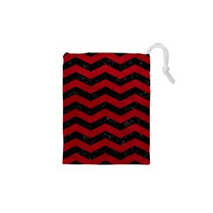 Chevron3 Black Marble & Red Leather Drawstring Pouches (xs)