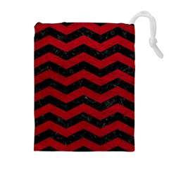 Chevron3 Black Marble & Red Leather Drawstring Pouches (extra Large)