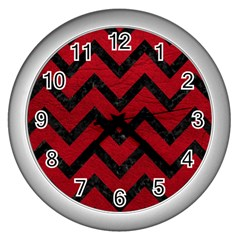 Chevron9 Black Marble & Red Leather Wall Clocks (silver)  by trendistuff