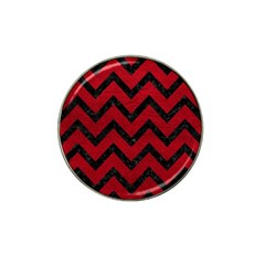 Chevron9 Black Marble & Red Leather Hat Clip Ball Marker by trendistuff