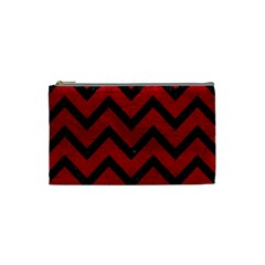 Chevron9 Black Marble & Red Leather Cosmetic Bag (small)  by trendistuff