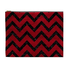 Chevron9 Black Marble & Red Leather Cosmetic Bag (xl) by trendistuff