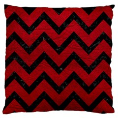 Chevron9 Black Marble & Red Leather Large Cushion Case (two Sides) by trendistuff