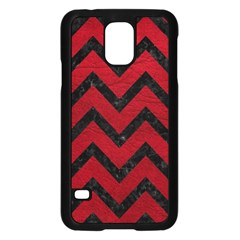 Chevron9 Black Marble & Red Leather Samsung Galaxy S5 Case (black) by trendistuff