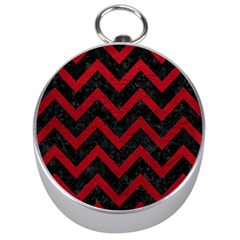 Chevron9 Black Marble & Red Leather (r) Silver Compasses by trendistuff
