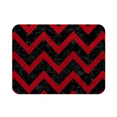 Chevron9 Black Marble & Red Leather (r) Double Sided Flano Blanket (mini)  by trendistuff