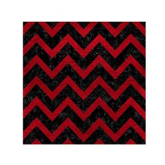 Chevron9 Black Marble & Red Leather (r) Small Satin Scarf (square)