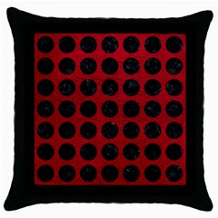 Circles1 Black Marble & Red Leather Throw Pillow Case (black)
