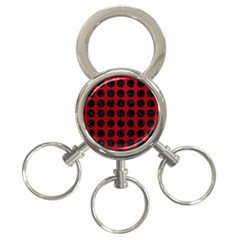 Circles1 Black Marble & Red Leather 3 Ring Key Chains by trendistuff