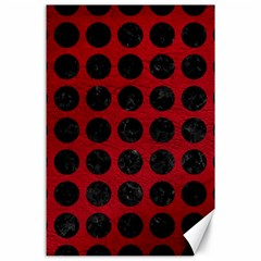 Circles1 Black Marble & Red Leather Canvas 24  X 36  by trendistuff