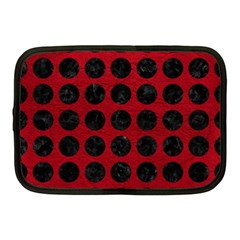 Circles1 Black Marble & Red Leather Netbook Case (medium)