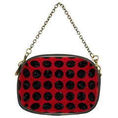 Circles1 Black Marble & Red Leather Chain Purses (two Sides)