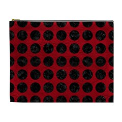 Circles1 Black Marble & Red Leather Cosmetic Bag (xl) by trendistuff