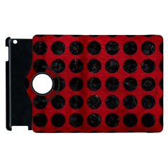 Circles1 Black Marble & Red Leather Apple Ipad 3/4 Flip 360 Case by trendistuff