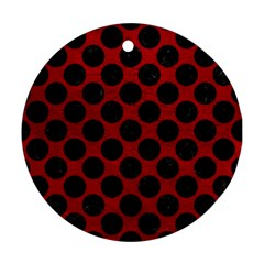 Circles2 Black Marble & Red Leather Ornament (round)