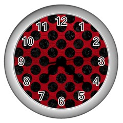 Circles2 Black Marble & Red Leather Wall Clocks (silver)  by trendistuff